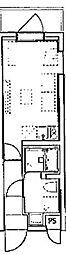 デコールブロッコ武蔵関 4階ワンルームの間取り