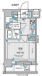 都営浅草線 戸越駅 徒歩5分の賃貸マンション 6階1Kの間取り