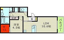 ルーチェ新森1 1階1LDKの間取り