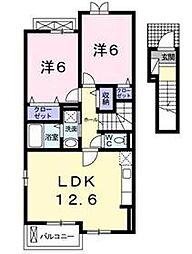 東武越生線 武州唐沢駅 徒歩9分の賃貸アパート 2階2LDKの間取り