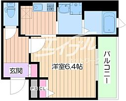 Osaka Metro谷町線 太子橋今市駅 徒歩5分の賃貸マンション 2階1Kの間取り