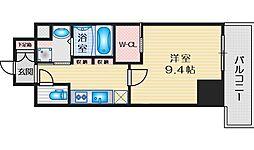 コンフォリア江坂 3階1Kの間取り
