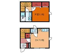 JR常磐線 柏駅 徒歩20分の賃貸アパート 2階1DKの間取り