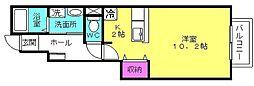 兵庫県加古郡播磨町南大中1の賃貸アパートの間取り