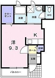 サウザンコ-トA 1階ワンルームの間取り