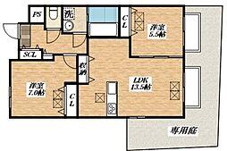 Osaka Metro谷町線 平野駅 徒歩11分の賃貸マンション 1階2LDKの間取り