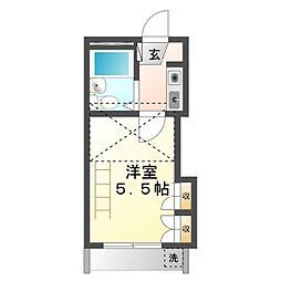 豊橋鉄道東田本線 東田駅 徒歩5分の賃貸アパート 1階1Kの間取り