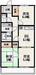 ファーストメゾンB 2階3DKの間取り