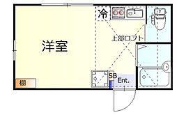 アイタル羽田 2階ワンルームの間取り