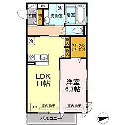 仮)D−room宿河原[206号室]の間取り