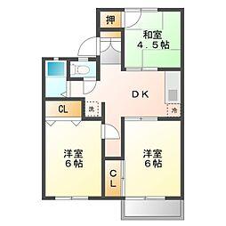 愛知県豊橋市三ツ相町の賃貸アパートの間取り