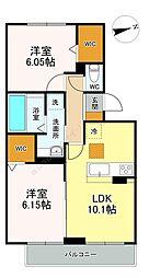 D-roomちはら台C棟 3階2LDKの間取り