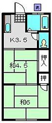 神奈川県横浜市磯子区杉田2丁目の賃貸アパートの間取り