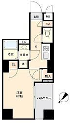 JR山手線 目黒駅 徒歩10分の賃貸マンション 8階1Kの間取り