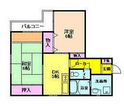 梅香ハイツ[4階]の間取り