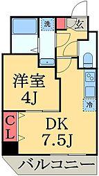 JR総武線 東船橋駅 徒歩9分の賃貸マンション 4階1LDKの間取り