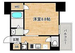近鉄大阪線 大阪上本町駅 徒歩4分の賃貸マンション 13階1Kの間取り