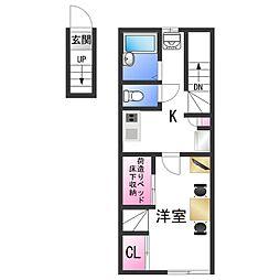 南海加太線 東松江駅 徒歩23分の賃貸アパート 2階1Kの間取り