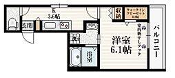 (仮称)たかの台マンション 2階1Kの間取り