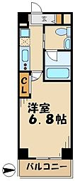 I-COURT 2階1Kの間取り
