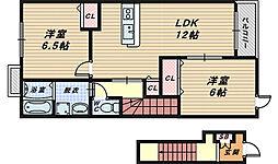 大阪府高石市取石5丁目の賃貸アパートの間取り