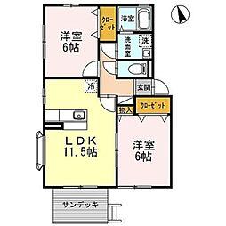 神奈川県川崎市麻生区白鳥4丁目の賃貸アパートの間取り