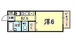 阪急神戸本線 夙川駅 徒歩10分の賃貸アパート 1階1Kの間取り
