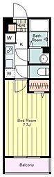 JR中央線 国立駅 徒歩8分の賃貸マンション 1階1Kの間取り
