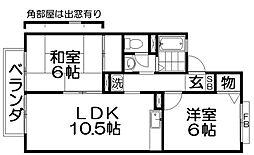 セジュール香里II[2階]の間取り