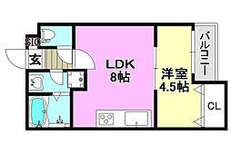 阪急京都本線 茨木市駅 徒歩9分の賃貸アパート 1階1LDKの間取り