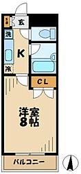 京王相模原線 京王多摩センター駅 徒歩8分の賃貸マンション 2階1Kの間取り