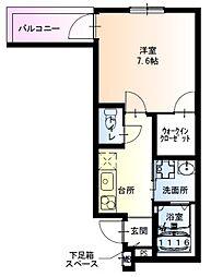 フジパレス中加賀屋VI番館 3階1Kの間取り