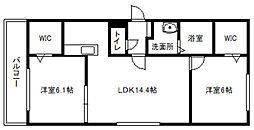 北海道札幌市白石区平和通1丁目北の賃貸マンションの間取り