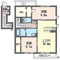 仮称 太田市米沢町シャーメゾン[201号室]の間取り
