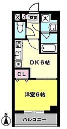 ブラウンハイムII 2階1DKの間取り