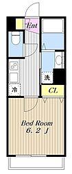 小田急小田原線 町田駅 徒歩10分の賃貸アパート 2階1Kの間取り