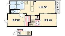 兵庫県神戸市北区藤原台南町3丁目の賃貸アパートの間取り