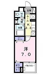 JR武蔵野線 三郷駅 徒歩4分の賃貸マンション 4階1Kの間取り