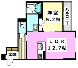 (仮称)摂津市シャーメゾン千里丘 2階1LDKの間取り