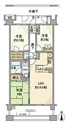 オーベル練馬センティア 3階3LDKの間取り