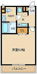リブリ・櫻泉學園 1階1Kの間取り