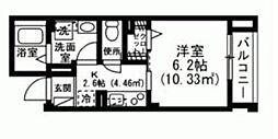 インペリアルヒルズ 4階1Kの間取り