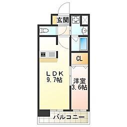 Laulea田辺 8階1LDKの間取り