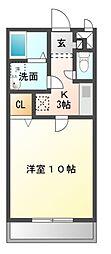 愛知県岡崎市上佐々木町字伝左の賃貸アパートの間取り