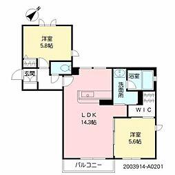 仮称)シャーメゾン津屋崎 2階2LDKの間取り