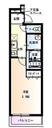 フジパレス関目II番館 1階1Kの間取り