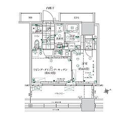 JR山手線 浜松町駅 徒歩10分の賃貸マンション 4階1LDKの間取り