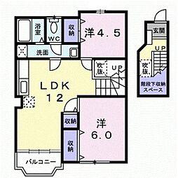 東京都小平市上水本町3丁目の賃貸アパートの間取り