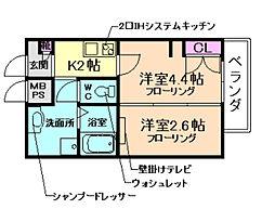 大阪府豊中市長興寺南2丁目の賃貸マンションの間取り