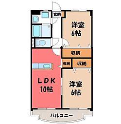 栃木県下野市下古山の賃貸マンションの間取り